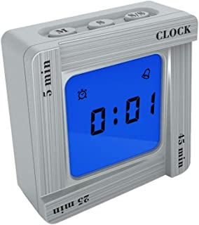 Simple Cube Timer Clock for Classroom Gym Kitchen, Small Vibrating Digital Alarm Clock for Time Management or Workout, Easy to Operated Alarm Clock for Kids or The Elder, Battery Operated (Silver)