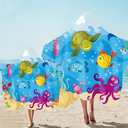 Toalla de Playa con Capucha Para Padres e Hijos, Microfibra, Cambiador de Bata de Baño Poncho Toalla de Natación Manta Fina Para Niños Adultos, Patrón de Pulpo Tortuga Delfín (Multi 2,Niño 130X150cm)