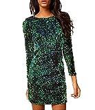 YaoDgFa Damen Paillettenkleid Minikleid Cocktailkleid Abendkleid Partykleider Etui Kleid mit Pailletten Langarm Rückenfrei Kurz,grün, M
