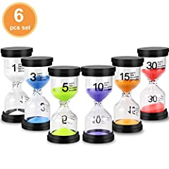 ★ 【Sand Timer Set】- Package includes 6pcs sand timers. 1 minute, 3 minutes, 5 minutes, 10 minutes,15 minutes,30 minutes timer in one set. ★ 【Shock- Resistance Hourglass Timers】- Made of Durable PVC, high borosilicate glass and protective cover,this s...