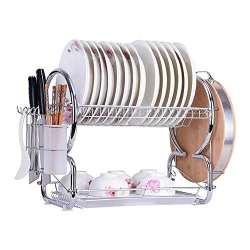 WYBW Lavavajillas multifuncional, rejilla para platos de 2 capas, tabla de desagüe desmontable de cocina fácil de instalar, canasta seca para vajilla, canasta de desagüe para fregadero de acero inoxi