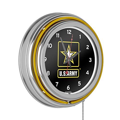 U.S. Army Chrome Double Ring Neon Clock