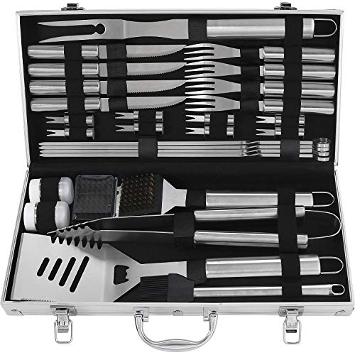 29PC Accessori per barbecue con manico resistente al calore - Set barbecue in acciaio inossidabile resistente con custodia in alluminio - Utensili per