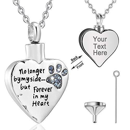 Eusense Joyería personalizada de plata de ley, collar de urna para cenizas, perro, gato, pata de...