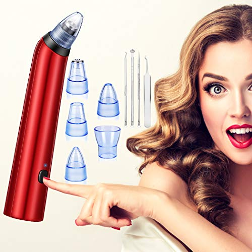 Limpiador de Poros, Eliminador de Puntos Negroscon 4 Cabezales Intercambiables Máquina Multifuncional de Limpiar Poros Faciales,con 4 Aguja Extractor