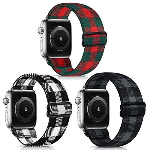 Lourhome - Correa de repuesto elástica compatible con Apple Watch de 38 40 mm, 42 44 mm, suave y elástica para mujer y hombre, correa de repuesto para iwatch Series 6, 5, 4, 3, 2, 1, SE Sport Edition