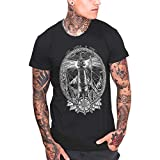 VIENTO Night Lighthouse Camiseta para Hombre (Negro, XL)