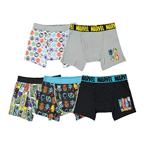 Marvel Little Boys' Avengers 5 Pack Boxer Briefs, Multi, 6