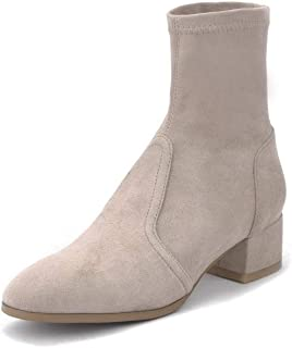 BalaMasa Womens Dress Solid Bucket-Style Urethane Boots ABM13229
