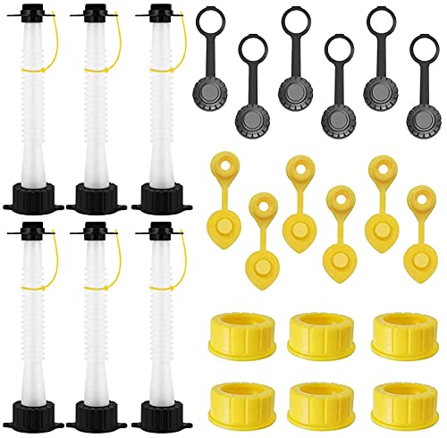 EONLION Gas Can Replacement Spout Kit, Flexible Pour Nozzle with Gasket, Stopper Caps, Collar Caps, Stripe Cap, Spout Kit for Water Jugs and Old Can, 6 Pack