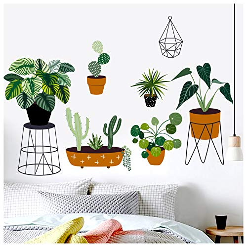 Pegatinas de pared de plantas verdes, removibles, impermeables, decoración de arte 3D, hojas frescas, verdes, murales de pared, papel para niños, dormitorio, sala de estar, oficina, hogar (3)