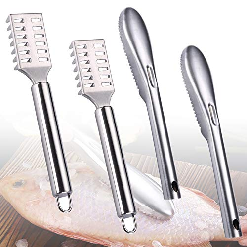 4 Pieces Fish Scaler Remover, Stainless Steel Sawtooth Scarper Remover with Ergonomic Handle, Catfish Skinner Pliers, Fish Cleaning Scales Kit for Kitchen