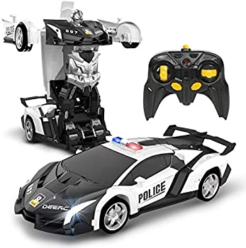 Deerc 1:18 Scale Transform Police Toy Remote Control Car