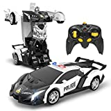 DEERC Remote Control Car,Transform Police Toy Cars,1:18 Scale Deformation RC Robot Vehicle with One Button Transforming,360 Degree Drifting,LED Lights,Great Toys Gift for Kids Boys & Girls