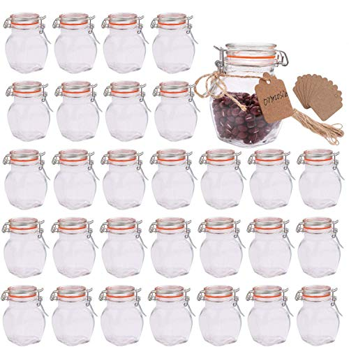 Mini Spice Jars,Encheng Glass Jars With Airtight Lids 4 oz And Leak Proof Rubber Gasket,Small Mason Jars With Hinged Lids For Kitchen,Small Storage Containers With Twine n Tags Labeling 30 Pack