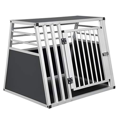 EUGAD Hundebox Transportbox Hundetransportbox Alu Reisebox Gitterbox Box L 80 x B 65 x H 65 cm 0007LL