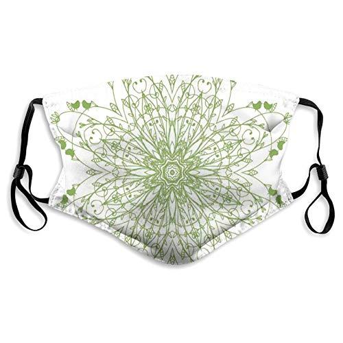Moda 3D Face_mask_Protect impreso Gesichts-Mund-Schutz diseño de flores orientales patrón de círculo con hojas de laurel, pájaros, impresión floral renacentista, decoración facial impresa para