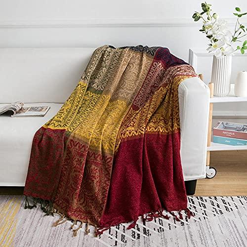 haoyunlai Funda para sillón, toalla de sofá, manta de arena, manta de punto, manta de sofá, aire acondicionado, mediodía noche manta de verano, color rojo vino _150 cm x 190 cm