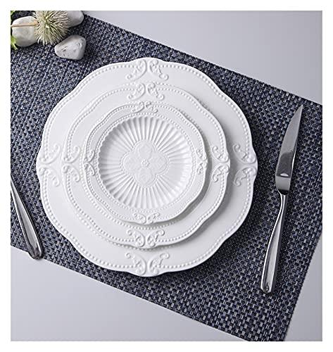 Plato de cena 3pcs set, 6 + 8 + 10 pulgadas, placas de porcelana en relieve blanca para la boda, plato de cena buffet de cerámica nórdico, conjunto de placas de sopa ( Color : 6 and 8 and 10 inch )