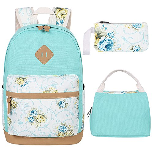 BLUBOON Teens Backpack for School Girls Bookbags Set Canvas Laptop Backpack Lunch Bag Pencil Purse (Mint Green)