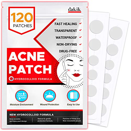 Acne Pimple Healing Patch – Invisible Facial Stickers with Hydrocolloid, Absorbing Cover for Skin Treatment, Blemishes, Black and White Spots, Three Sizes, Blends in with skin (120 Patches)