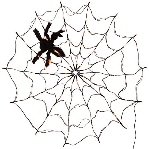 Halloween-Spinnennetz-Lichterkette, LED-Spinnennetz-Licht, für Party, Hof, Bar, Spukhaus, Fenster-Dekoration, Innen- und Außenbereich, Halloween-Dekoration...