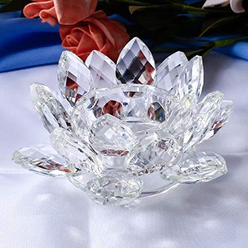 Faroles para velas Tenedores de luz de té Cristal hecho a mano Lotus Tealight Glass Decoración para el hogar Accesorios Fiesta de cumpleaños Decoración de boda Regalo Candelabros-Transparente