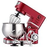 Küchenmaschine 6 Liter 1200WStylish Küchenmixer mit Schüssel, Schläger, Haken, Schneebesen, (ROT)