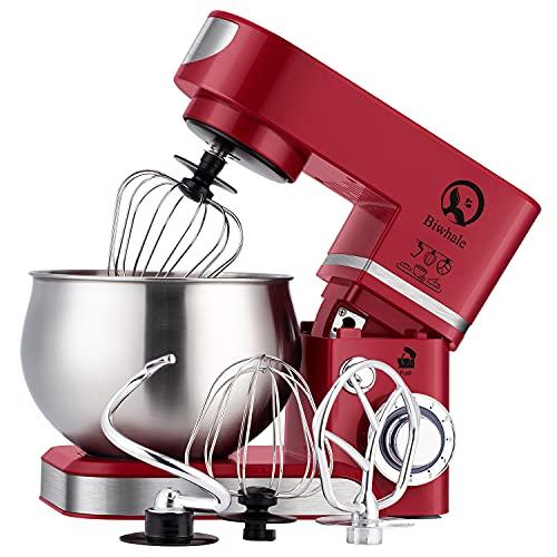 Robot de cocina de 6 litros, 1200WStylish batidora con cuenco, pala, gancho, batidor, rojo