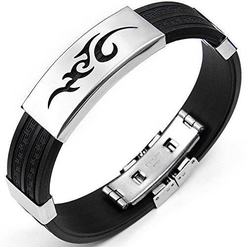 JewelryWe Schmuck 14,5 mm Breite Edelstahl & Gummi Herren Armband Armreif Farbe Schwarz