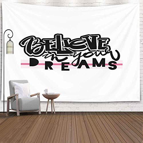 N\A Tapiz de Navidad, tapices de Navidad Cree en Tus sueños Tinta de caligrafía Funky inspiradora Pincel Moderno Tapiz de Pared de Navidad Tapiz de Navidad Grande