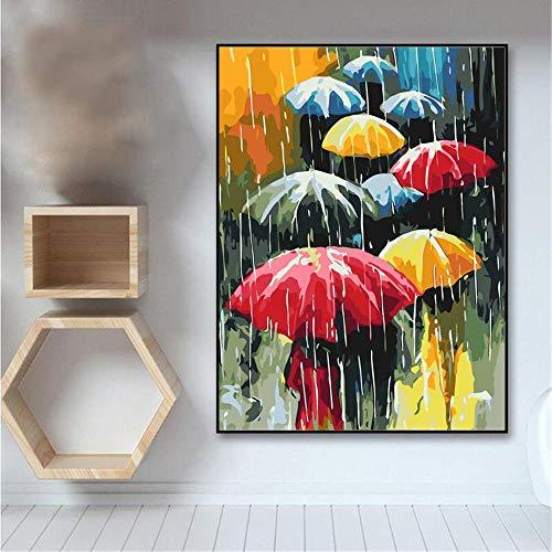 XRKITGD DIY Ölgemälde Regen Landschaft Bilder nach Zahlen Landschaft Kits Zeichnung Leinwand Handbemalte Regenschirm Home Decor 40x50cmx1 Ungerahmt