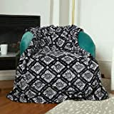 Plush Throw Blanket with Foot Pocket 60 x 70 inches Super Soft Black and White Print