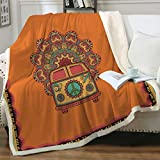 Sleepwish Retro Bus Peace Sign Blankets Throws Old Fashion Turquoise and Orange Throw Blanket Peace Van Hippie Bus Sherpa Fleece Reversible Blanket (50'x 60')