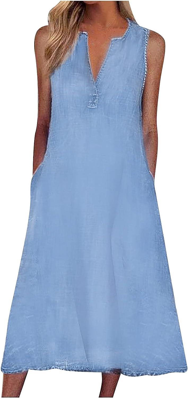 wodceeke Women's Long Denim Vest Dress, V Neck Loose Plus Size Maxi Tank Skirt Sleeveless Cowboy Sundress with Pockets