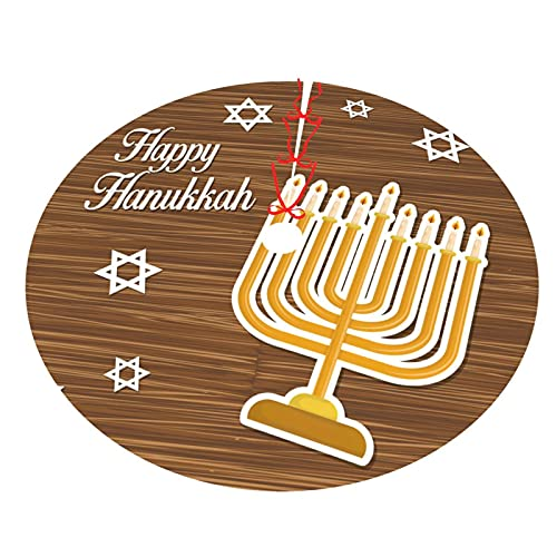 KXT Happy Hanukkah Christmas Tree Skirt,Tree Skirt for Christmas Decorations Holiday Tree Xmas Ornaments,Double-Layer 30'