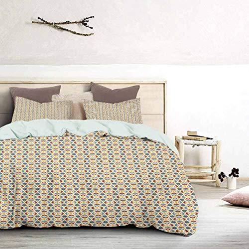 UNOSEKS LANZON Juego de ropa de cama de estilo antiguo otomano arabesco, estrella marroquí, diseño medio antiguo, juego de funda de edredón ligero fácil de lavar y secar Multicolor, tamaño king