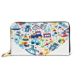 Women's Long Leather Card Holder Purse Zipper Buckle Elegant Clutch Wallet, Heart Shaped Collage of Toys For Newborn Baby Boy Train and Alphabet Educational Fun,Sleek and Slim Travel Purse
