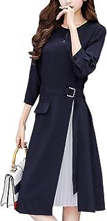 [ニーマンバイ] 【在庫限り】七分袖 シフォン プリーツ 付き Aライン カラーフォーマル ドレス S~3XL