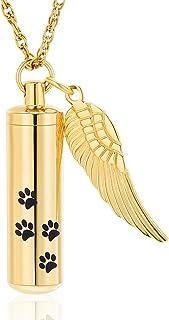 shajwo Cremation Jewelry Paw Print Urn Necklaces for Human Pet Ashes Cylinder Urn Pendant Keepsake Memorial Ash Locket Hol...