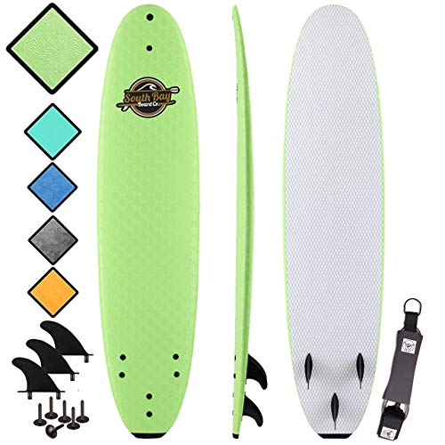 South Bay Board Co. - Premium Beginner Soft Top Surfboards - 7' | 8' | 8'8 Sizes - The Best Foam Surf Boards (8' Verve - Green, 8' Verve - Green)
