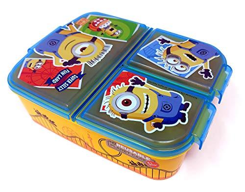 Minions Kinder Brotdose mit 3 Fächern, Kids Lunchbox,Bento Brotbox für Kinder - ideal für Schule, Kindergarten oder Freizeit