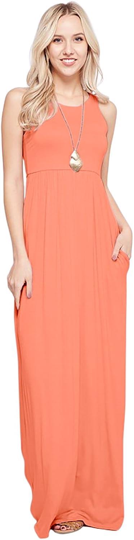 Sportoli Maxi Dresses for Women Solid Lightweight Long Racerback Sleeveless W/Pocket