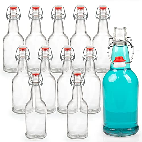 Ilyapa 16 Ounce Clear Swing Top Glass Beer Bottles for Home Brewing - Carbonated Drinks, Kombucha, Kefir, Soda, Juice, Fermentation, 12 Pack Glass Bottle with Airtight Rubber Seal Flip Caps