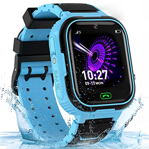 Smart Watch for Kids Girls Boys, Waterproof Kids Smartwatch w GPS Tracker, Touch Screen Call SOS Camera Alarm Cell Phone Watches for Children 3-14 Ages Birthday Gifts(Blue)