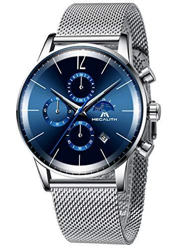 Relojes Cronógrafo Dorado para Hombre Reloj de Impermeable de Los Hombres Calendario de Fecha Reloj de Malla de Acero Inoxidable Reloj de Pulsera Analógico Multifuncional Gents
