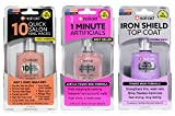 Nail-Aid 3pk Of 10 Quick Hacks + 1 Minute Artificials + Iron Shield Top Coat, Clear, N/A, 1.65 Fl Ounce