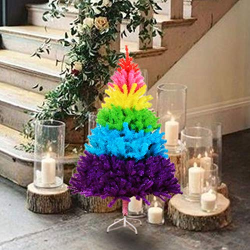 Fthome 23.6Inch Rainbow Christmas Tree, Artificial Colorful Tree Holiday Seasonal Decoration, Metal Stand, for Xmas Holiday Room Tabletop Decor Home Xmas Gift Party