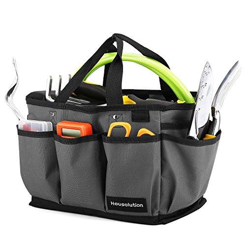 Housolution Garten Werkzeugtasche, Deluxe Garten Werkzeug Aufbewahrungstasche und Gartengerätetasche mit Kleinen Taschen, Verschleißfest und Wiederverwendbar, 14 Zoll, Grau & Schwarz