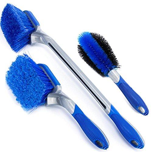 Waroomss - Juego de 3 cepillos de Limpieza para Rueda de Coche, Limpiador para Cepillo Suave para Llantas de neumáticos, Mango Largo, Cepillo de llanta y Rueda sin Metal, para Limpiar Las Ruedas